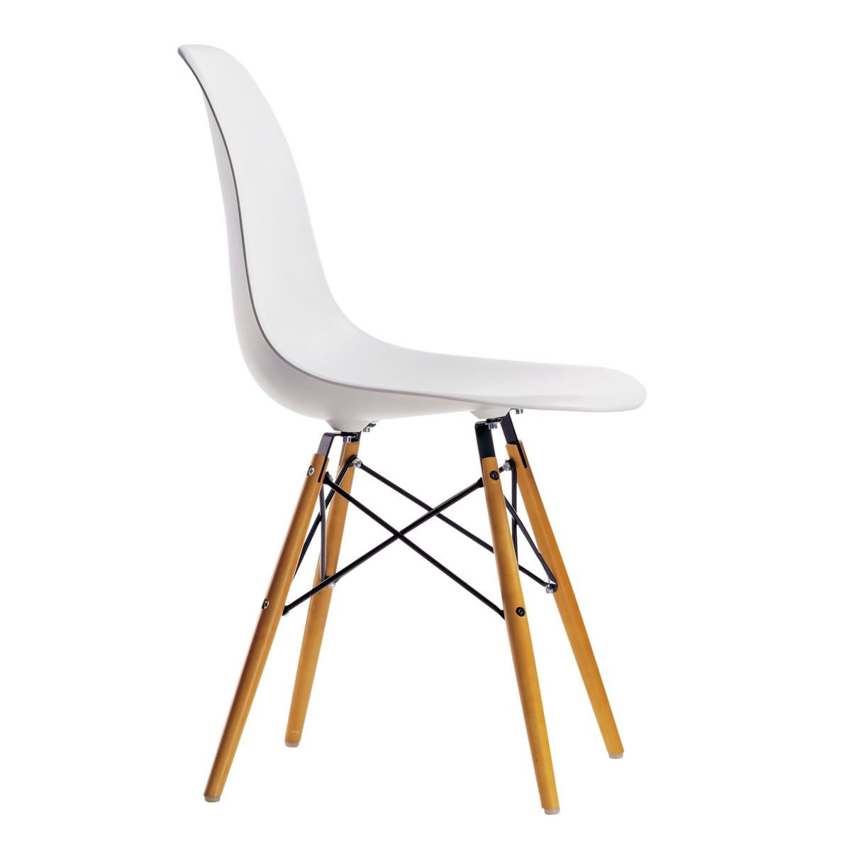 Chaise Design Eames Dsw Blanche.Vitra Kit Promotionnel Chaise Eames Plastic Side Chair Dsw Lot De 4 Erable Jaunatre Blanc Feutre De Planeur Blanc
