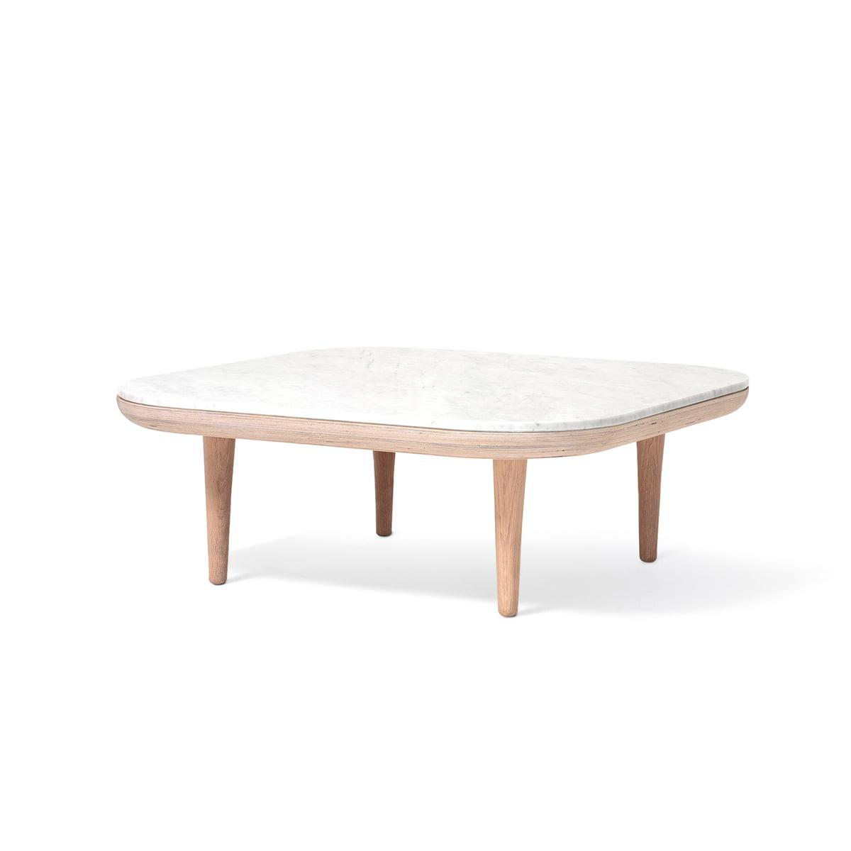 & tradition - Table basse fly sc4, 80 x 80 cm, chêne blanc/marbre bianco  carrara