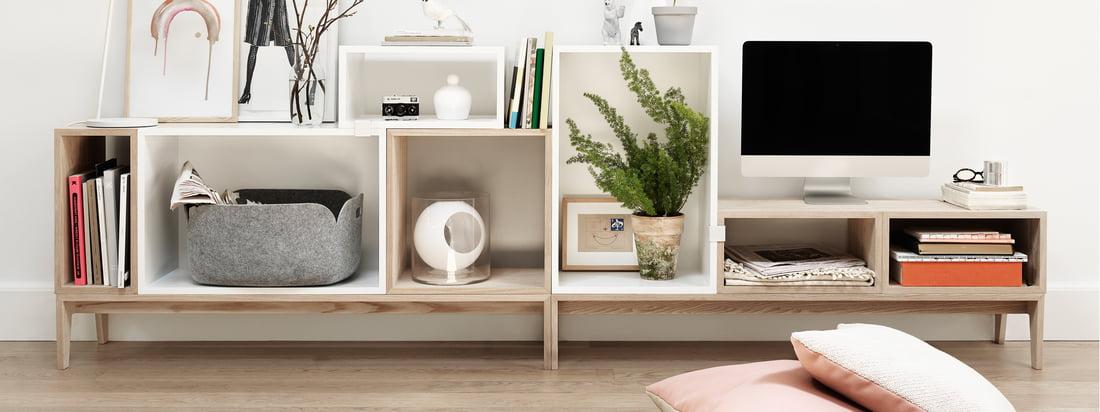 Muuto - Système d'étagères empilées - détail image blanc