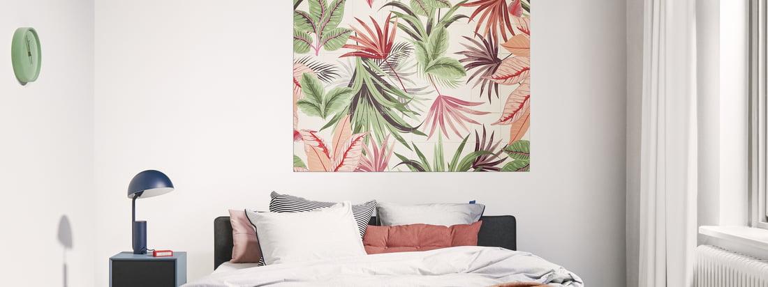 Le motif mural Pink Jungle d'IXXI dans la vue d'ambiance. Le motif Pink Jungle de Creative Lab Amsterdam apporte une touche tropicale dans toutes les ambiances.