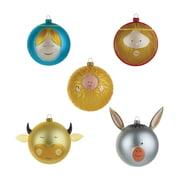 A di Alessi - Boules de Noël Enfant Jésus Marie Joseph bœuf et âne (coloré)