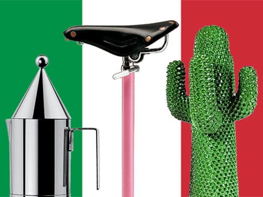 La cafetière italienne La Conica d'Officina Alessi, le tabouret Sella de Zanotta et le Cactus Gufram sont des classiques du design italien du XXe siècle.