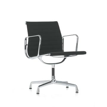 Vitra - Alu-Chair EA 108 - chrom, swiveable, with armrests, black hopsak