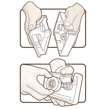 j-me - Dévidoir de ruban adhésif cassette tape, gris clair - Esquisse d'application