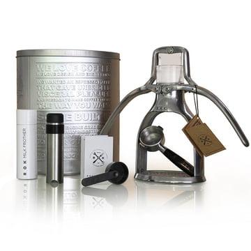 ROK - Machine à expresso avec un mousseur à lait et une boîte en métal