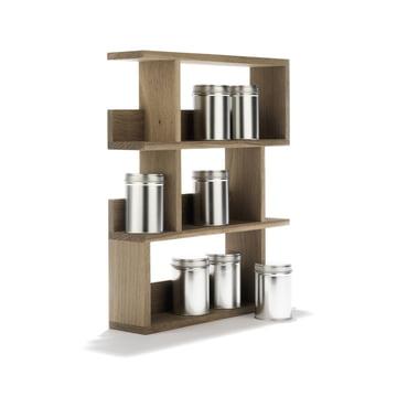 side by side - Étagère à épices - vue en biais, avec les boîtes