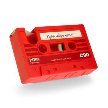 j-me - Dévidoir de ruban adhésif cassette tape, rouge - de biais en bas