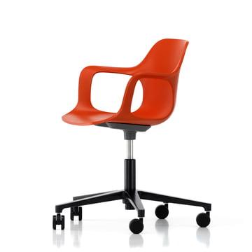 Chaise de bureau pivotante Hal Studio par Vitra en rouge-orange