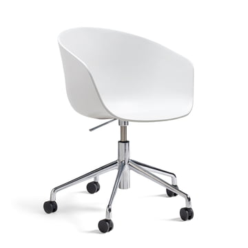 Hay - About A Chair AAC 52 avec vérin à gaz, aluminium poli / blanc