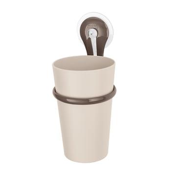 Gobelet pour brosses à dents Loop de Koziol en taupe et stone