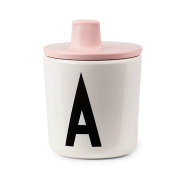 Gobelet à bec AJ avec couvercle de Design Letters en rose