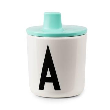 Gobelet à bec AJ avec couvercle de Design Letters en turquoise