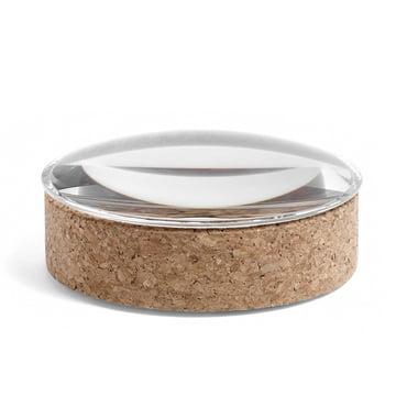 Hay - Lens Box avec couvercle M, empilable, Ø 14 cm, liège avec couvercle en verre