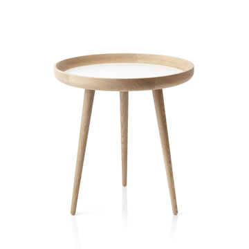 Table applicata Ø 49 cm, chêne / stratifié blanc