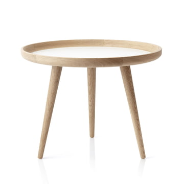 Table applicata Ø 69 cm, chêne/stratifié blanc