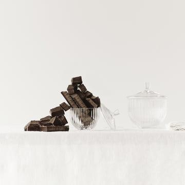 Bonbonnière en verre de Lyngby Porcelæn