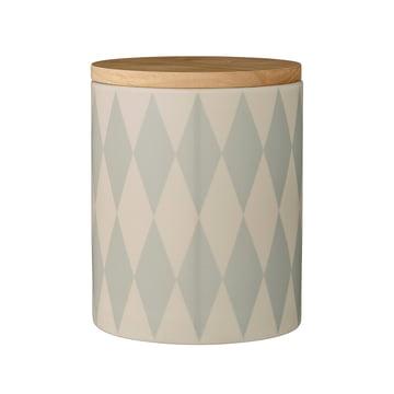 Bloomingville - boîte avec couvercle bambou, sky blue, Ø14,5 x H18 cm