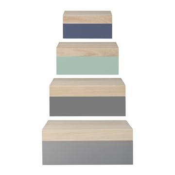 Bloomingville - Boîtes en bois (set de 4), nature / pastel