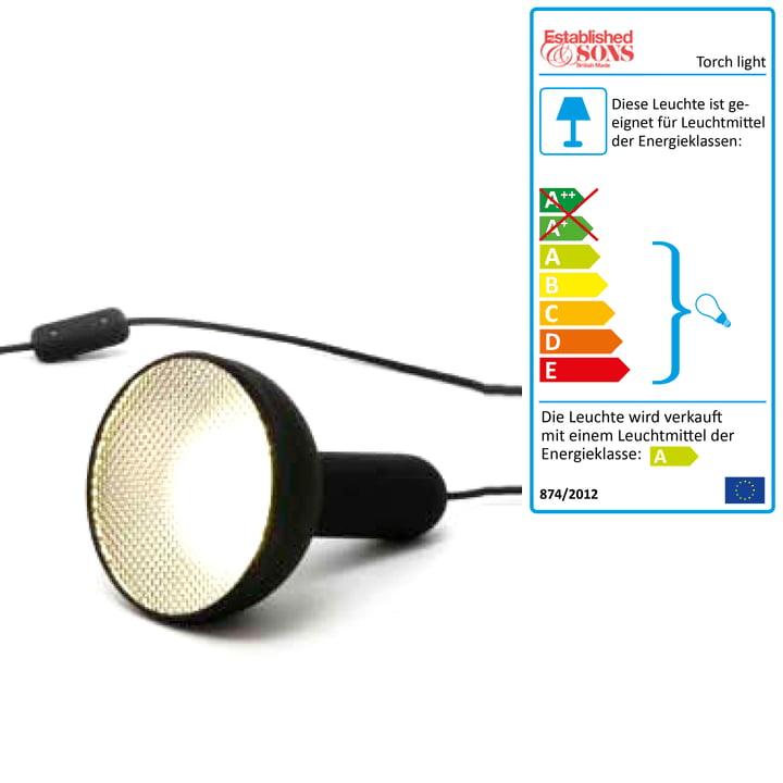Lampe de sol Torch Light, conique - petit, câble noir (marche/arrêt)