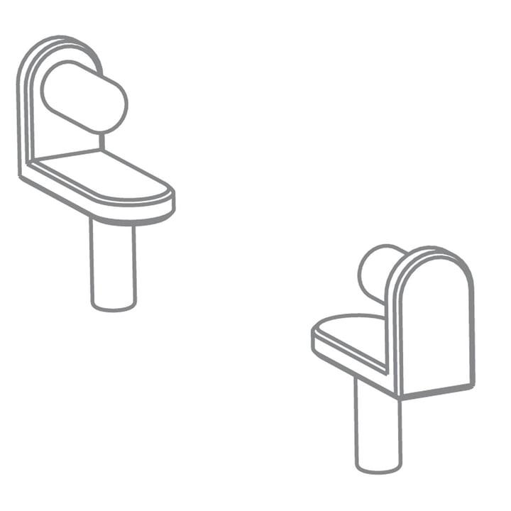 Position pure - Growing Table dérouleur de papier à dessin, HPL blanc