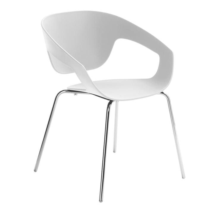 Casamania - Chaise Vad en blanc avec structure à quatre pieds