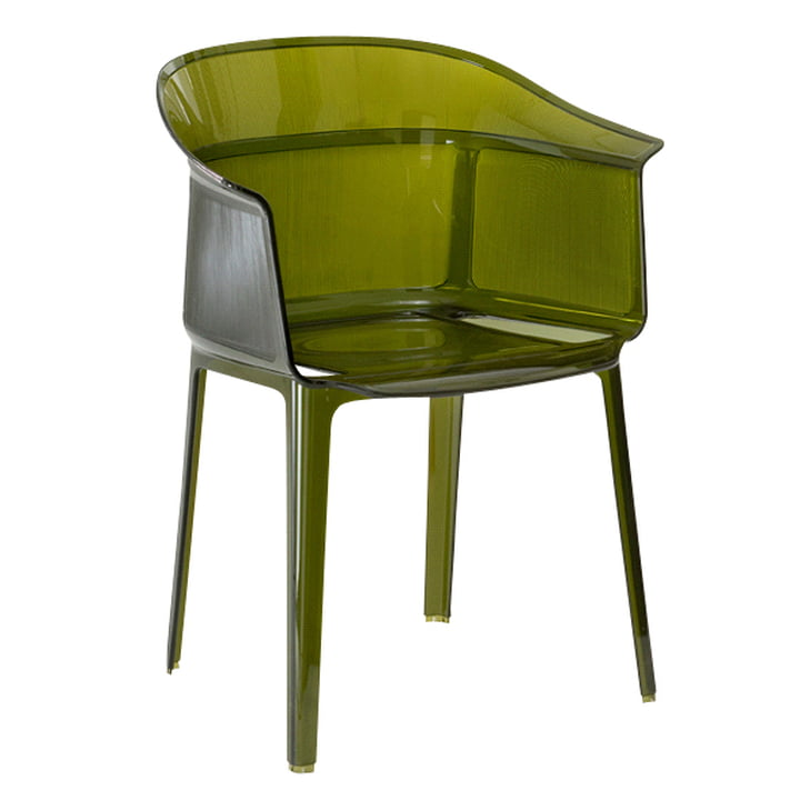 Kartell - Chaise à accoudoirs Papyrus, vert olive