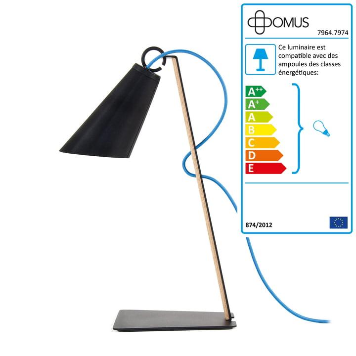Domus - Lampe de bureau Pit - chêne huilé / noir / câble bleu