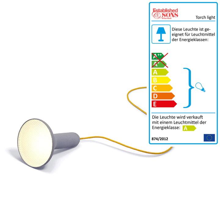 Established & Sons - Torch Light, sol, conique, gris/jaune