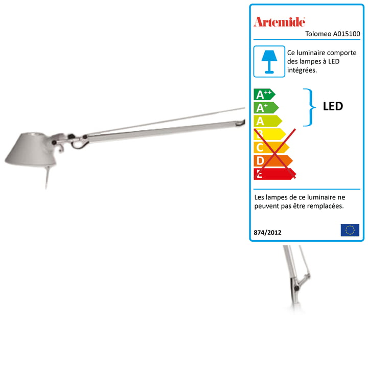Artemide - Tolomeo Midi LED, Corps Aluminium