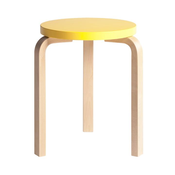 Artek - Hocker 60, jaune laqué/ Bouleau naturel