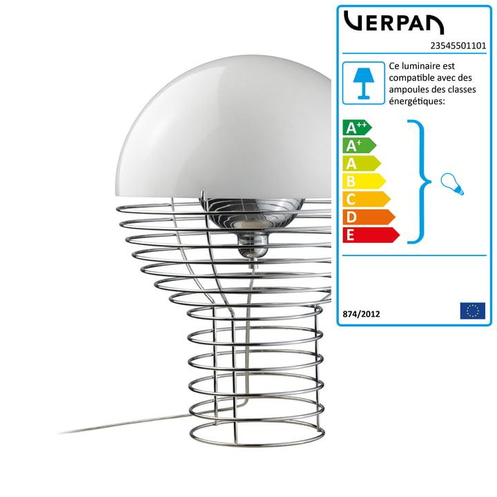 Lampe à poser en fil métallique Ø 30 cm de Verpan en blanc