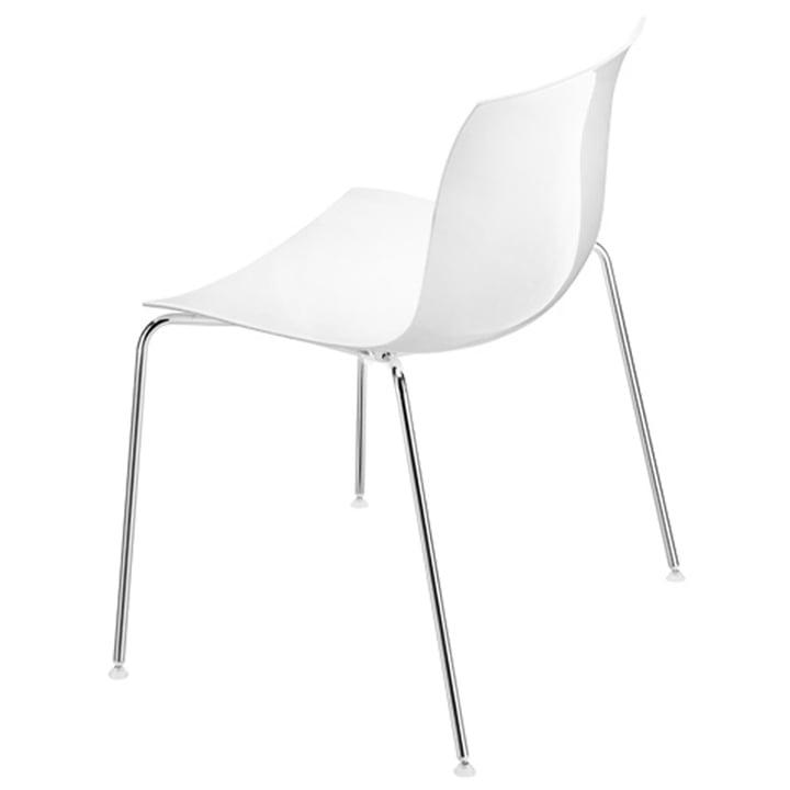 Arper - Chaise Catifa53, assise plastique blanc / piétement à quatre pieds