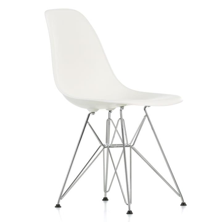 Eames Plastic Side Chair DSR, verchromt / stone white