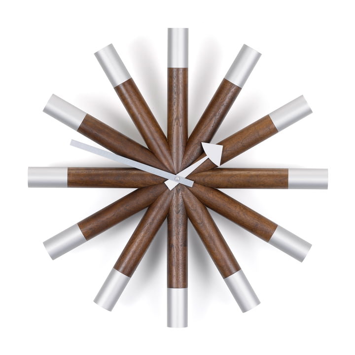 Vitra - Wheel Clock, noyer / aluminium