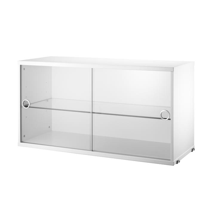 String - Vitrine avec portes coulissantes en verre, blanc