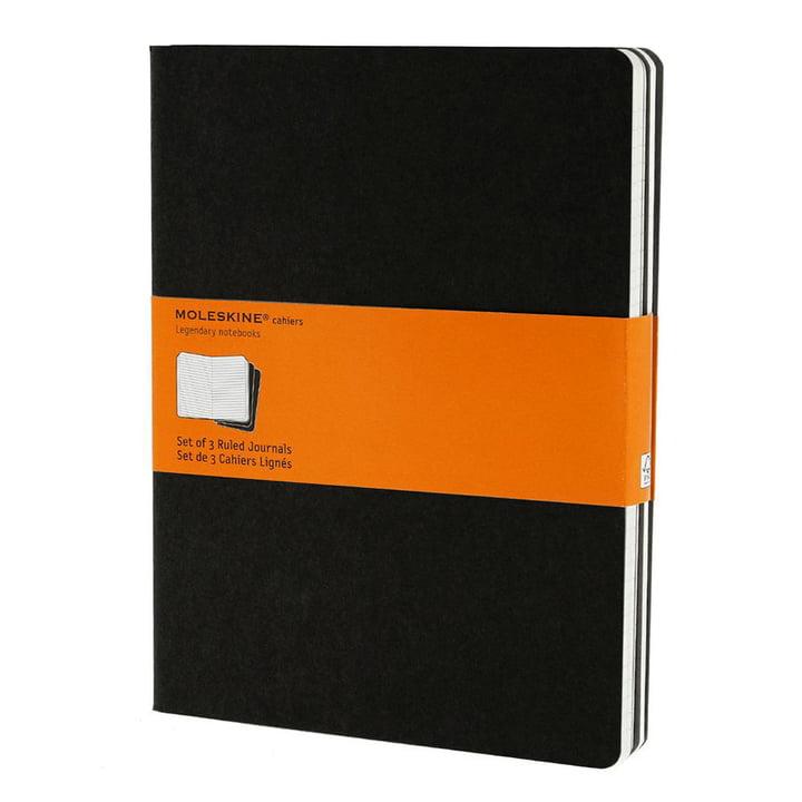Moleskine - Cahier X-large, ligné, noir (lot de 3)