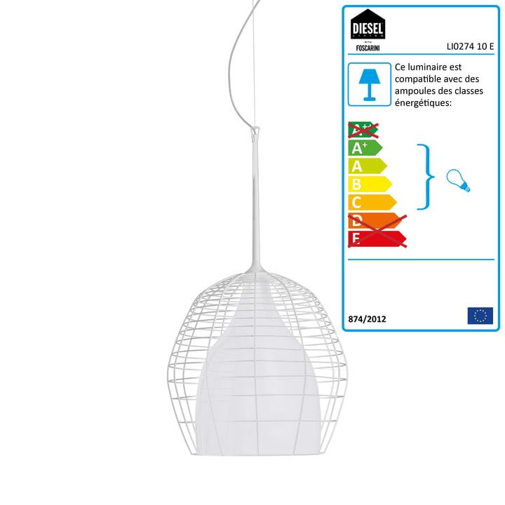 Diesel Living - Suspension lumineuse Cage, petit format, blanc/blanc