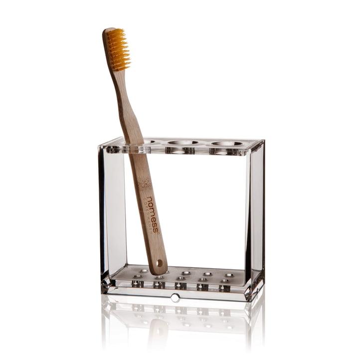 Nomess - Porte-brosse à dents Clear, avec brosses à dents