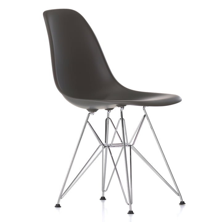 Chaise Eames Plastic Side Chair DSR by Vitra en chrome / basalte