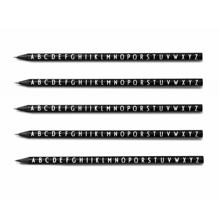 Design Letters - Crayons à papier AJ, noir (lot de 5)