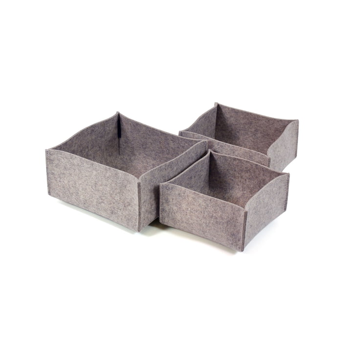 Hey Sign - Lot de boîtes 1 (lot de 3), gris clair chiné