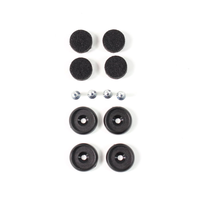 Set de feutre pour chaise en plastique DSW / DAW set de 4 de Vitra en noir / noir