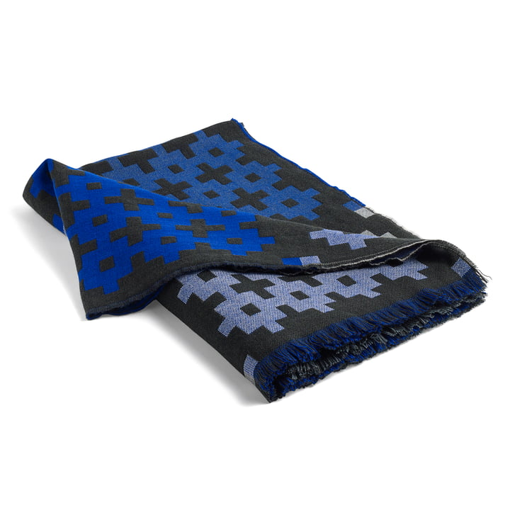Hay - couverture en laine Plus9 en  vert foncé / bleu