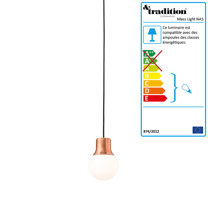 &Tradition - Suspension lumineuse Mass light NA5, cuivre
