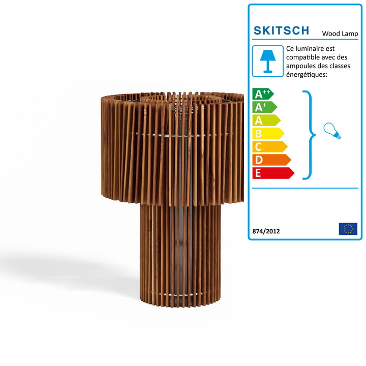 Lampadaire/lampe de table Wood Lamp de Skitsch en petit format