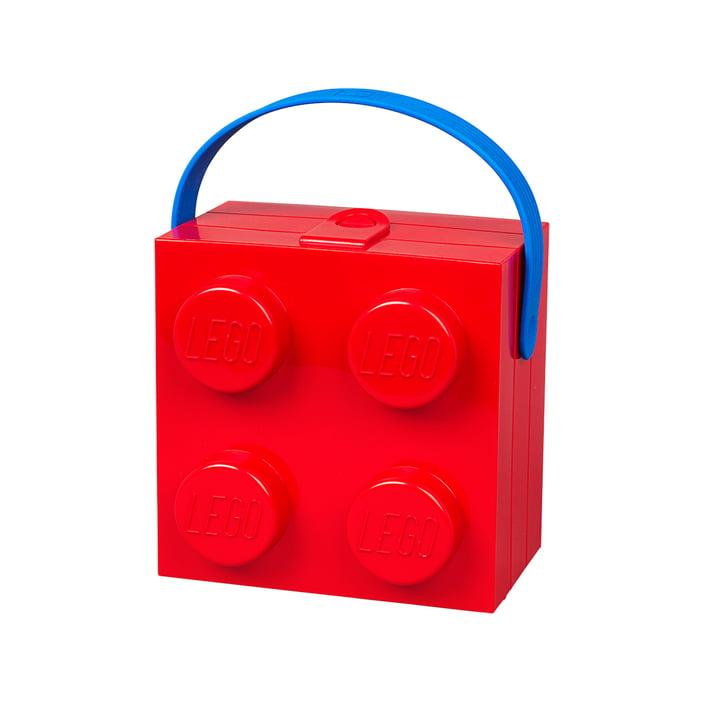 Lunch Box avec anse de Lego en rouge