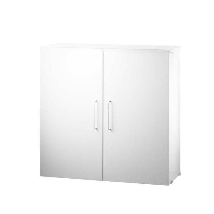 Système d'armoire modulaire avec deuxétagères de String en blanc