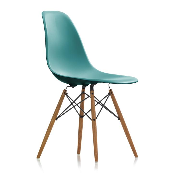 Vitra - Eames Plastic Side Chair DSW, frêne couleur miel / ocean