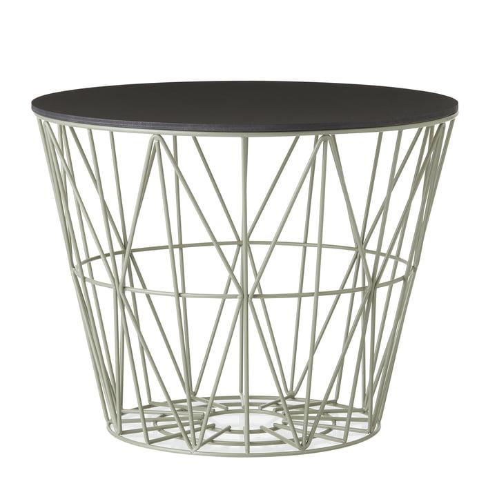 Wire Basket en Dusty Green avec Top en noir teinté de ferm Living