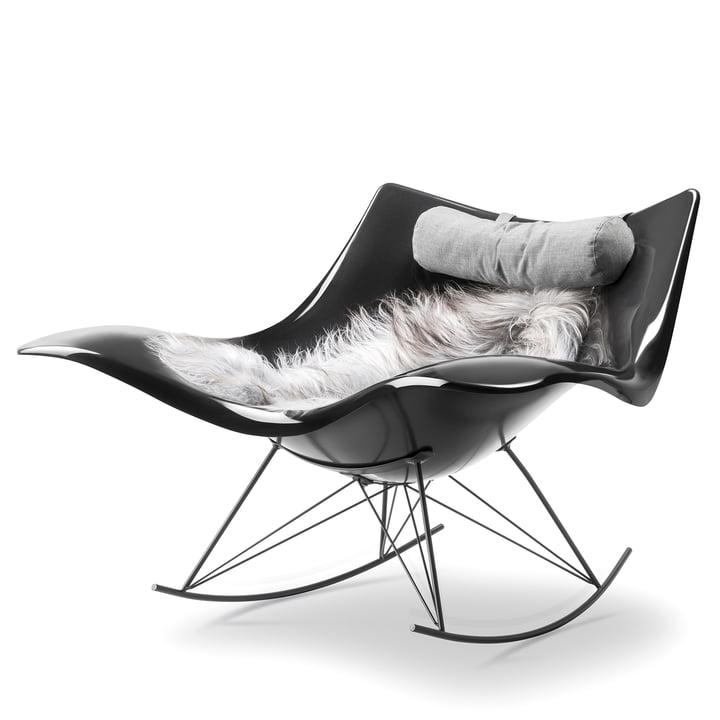 Chaise à bascule Stingray avec peau d'agneau et coussin cervical